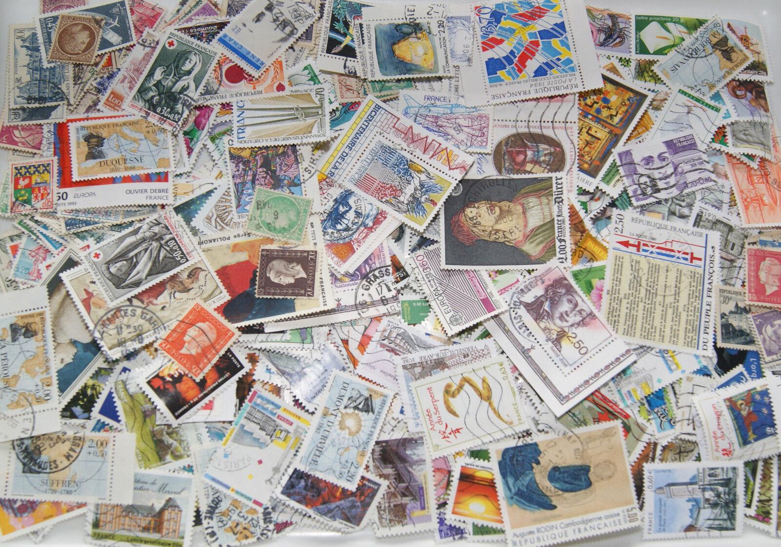 timbres  france oblitérés lot 100 - 1000 timbres tous différents