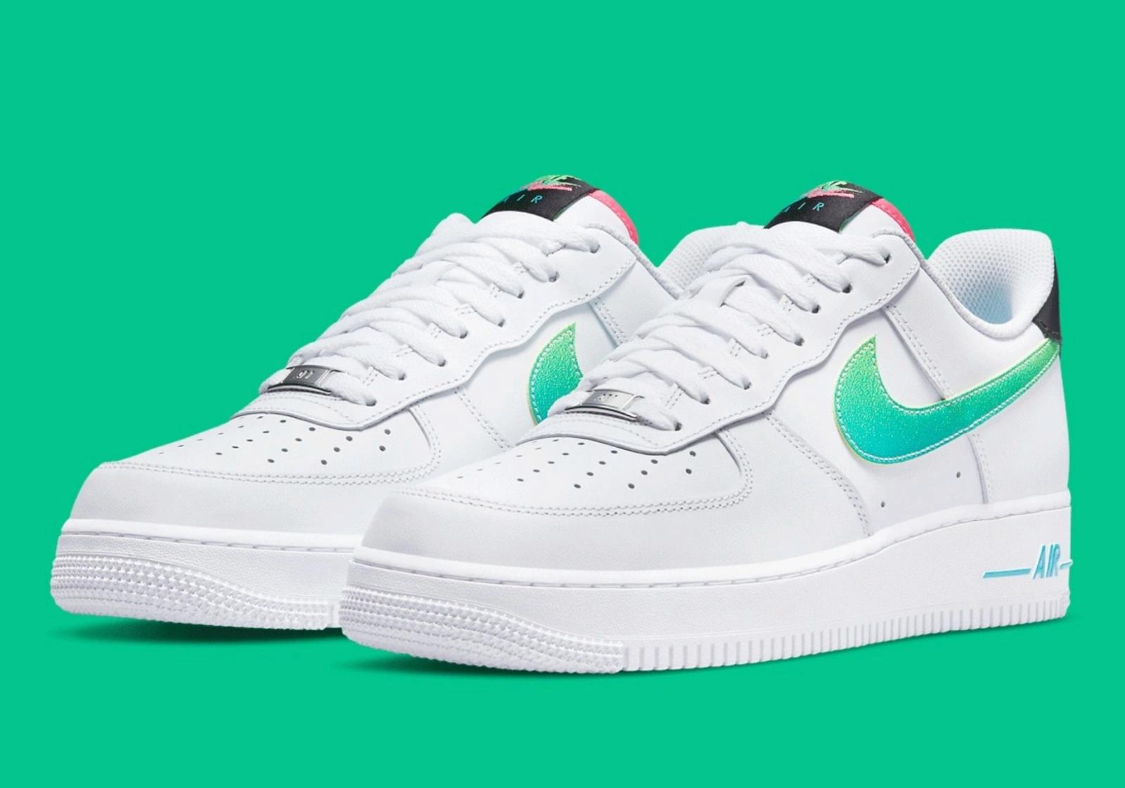 Nike Air Force 1 '07 LV8 Shoes White Green Strike Aquamarine DJ5148-100 Men's