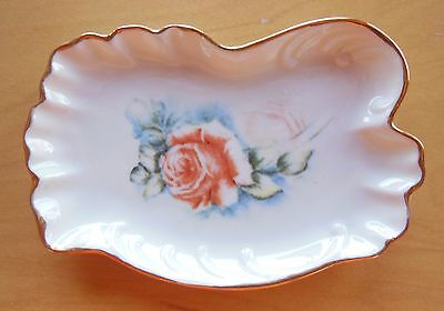 Porcelain Dish with Gold Trim Rose Design - Soap, Jewelry, Decorative
