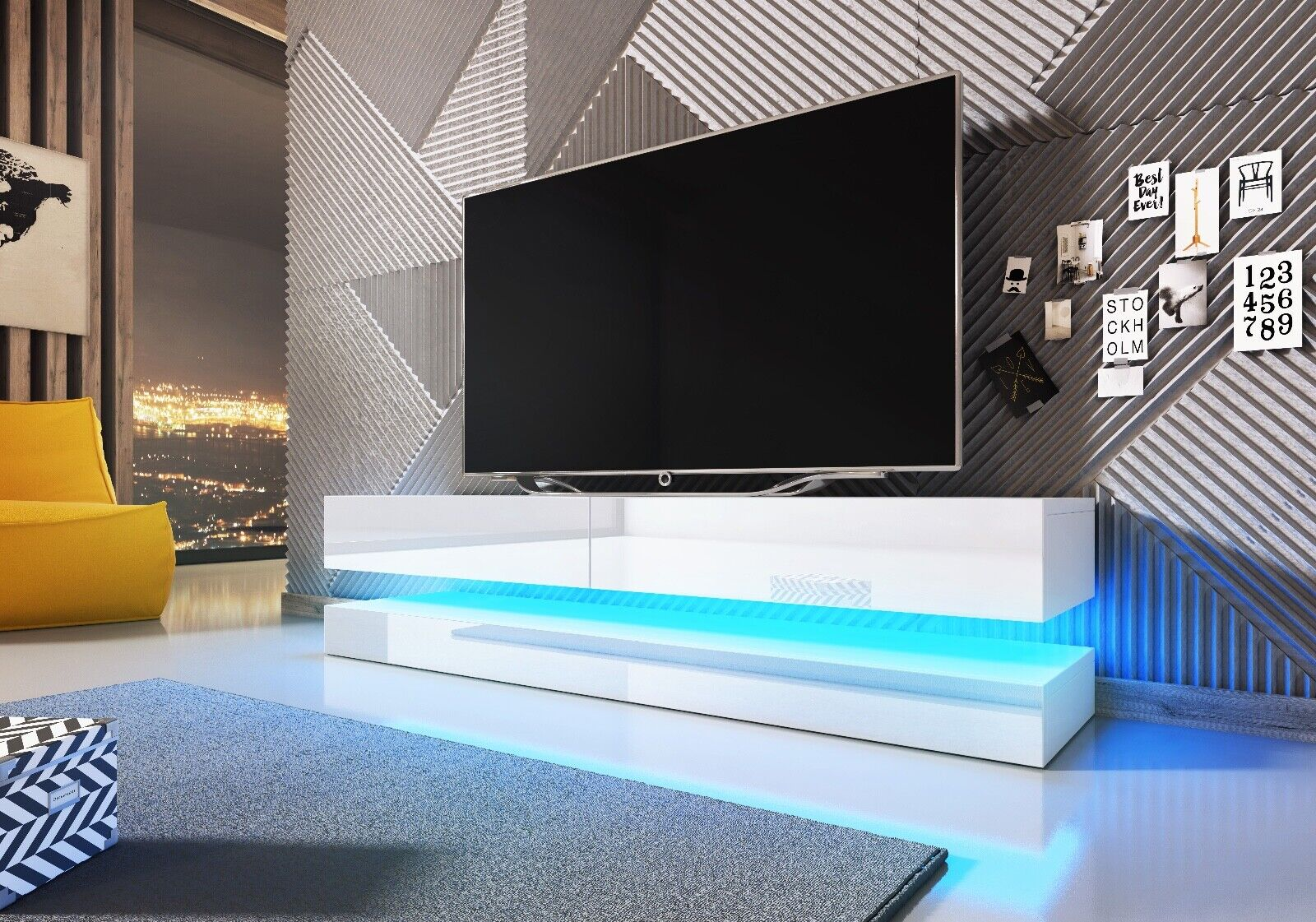 Sideboard Lowboard TV Fernsehschrank FLY 140 cm Kommode inkl LED Highboard NEU
