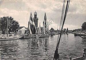 Cartolina-Postcard-Cervia-Porto-Canale-barche-Vele-1952