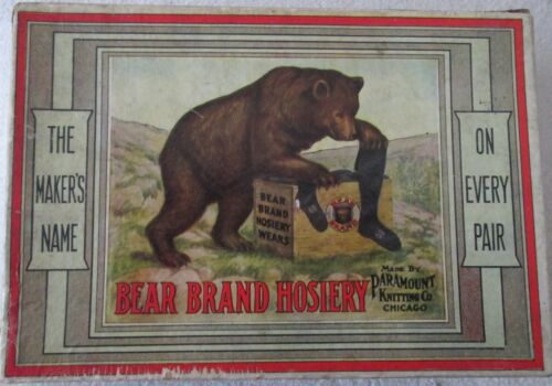 Vintage Advertising Bear Brand Hosiery Box with scarce story insert early 1900
