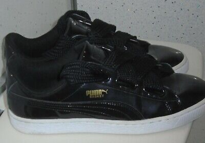 WOMENS PUMA HEART BASKET PATENT TRAINERS UK 7 EUR 40.5 CHUNKY LACES SNEAKERS