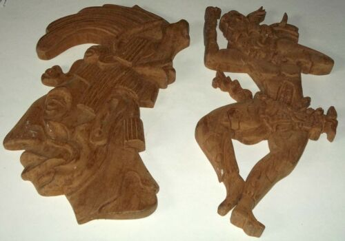 2 Vintage Carved Wood Artesania Maya Warrior Wall Plaques to Paint Stain