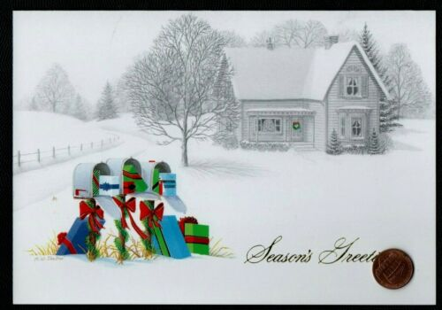 CHRISTMAS House Snow Mail Boxes Stuffed With Gifts Bows  Christmas Greeting Card