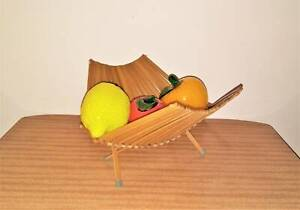 Vintage Wooden Bamboo Folding Basket Golden Grove Tea Tree Gully Area Preview