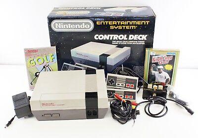 Deck Console - Original Nintendo NES Control Deck Game Console Bundle W/ 2 Controllers 2 Games