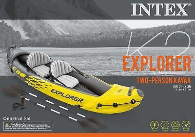 Intex 2 Person Explorer K2 Inflatable Kayak w/ Aluminum Oars & Air Pump 68307EP