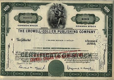Crowell-Collier Publishing Stock Certificate