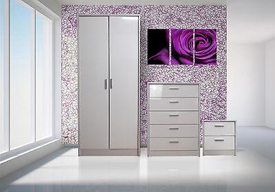 Bedroom Furniture Set Wardrobe Chest Bedside High Gloss White/White Oak Frame