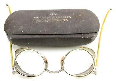 Vintage AO OPTICAL Mesh Side Folding Safety Glasses Goggles w/ Case METAL