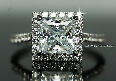 1.99 Ct Princess Cut Halo Engagement Wedding Promise Ring Solid 14K White Gold