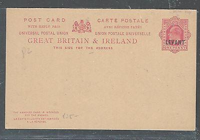 BRITISH LEVANT (P2307BB) KE 1D PSC OVPT ON GB DOUBLE CARD UNUSED