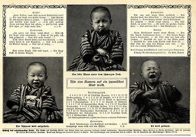 Wie eine Kamera auf ein japanisches Kind wirkt Foto-Collage von 1912