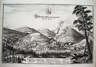 Wildemann Harz  Niedersachsen Bergwerk  Merian Kupferstich  Erstausgabe 1654