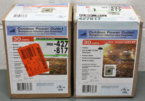 (2) Midwest Electric Outdoor Power Outlet U013P, 120V, 30A, TT-30R, In-Use Cover