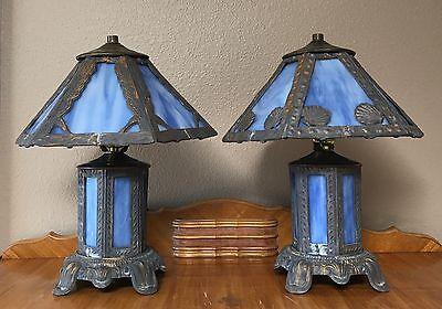 Pair Antique American Art Nouveau Leaded Slag Glass Lamps c. 1910 12 Panels