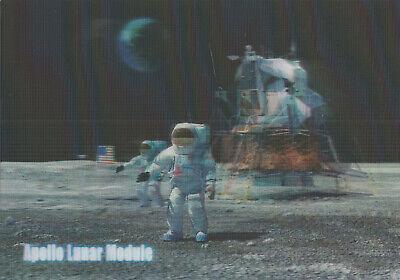3 -D - Ansichtskarte: Apollo Lunar Module - zwei Astronauten auf dem Mond