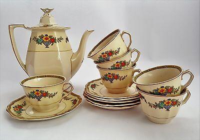 Vintage John Maddock & Sons Art Deco Royal Ivory Minerva Coffee Set c1927