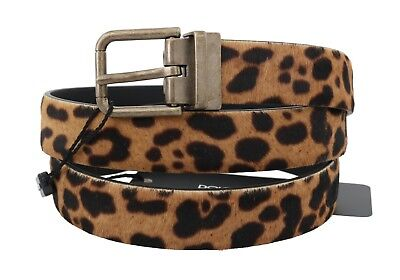 NEW $380 DOLCE & GABBANA Belt Brown Leopard Pattern Leather Calf Fur 95cm /38in