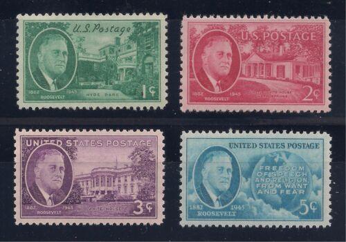 PRESIDENT FRANKLIN D ROOSEVELT FDR - 1945 SET OF 4 U.S. STAMPS - MINT CONDITION