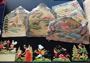 Large Vintage Christmas die cut decorations Germany
