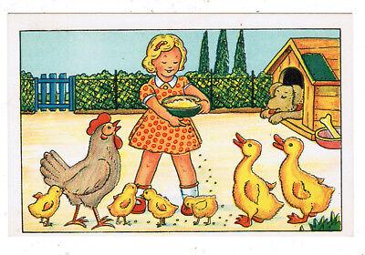 (JUDAICA JEWISH POSTCARD ISRAELI GIRL FEEDING CHICKS DUCKS ILLUST RUSCHKEWITZ)