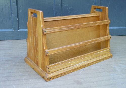 A Brandt Ranch Oak No. 2921 Western Southwest Wood Magazine Rack Stand