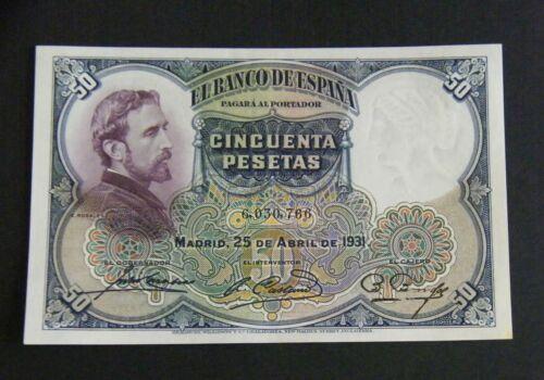 SPAIN  BANKNOTE 50 PESETAS 1931  ¨ROSALES¨  UNC-