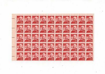 US half mint sheet of 50 #1045 12c 1959 BENJAMIN HARRISON LIBERTY NH OG