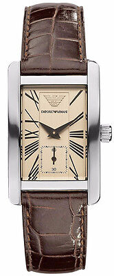 Emporio Armani Quartz Beige Dial with Brown Embossed Leather Band Women's Watch - Embossed Dial Watch