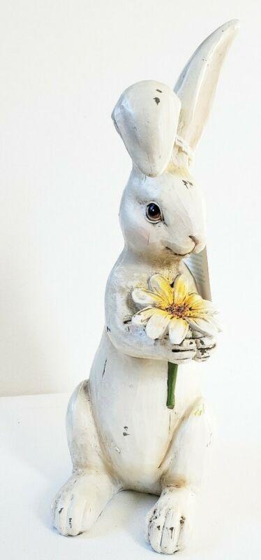NEW Martha Stewart Resin 11.5 Inch Bunny With Daisy Spring Easter Figurine