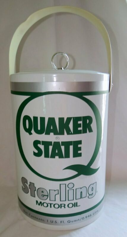 Vintage Quaker State Sterling Oil Can Advertising Ice Bucket
