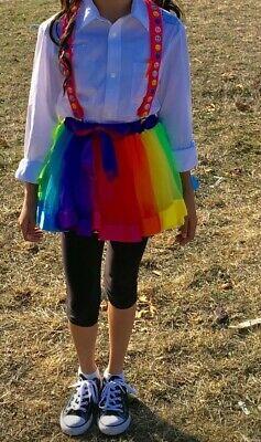 Nerd Costume Girls (Girls Longsleeve Shirt M 8-10 With Suspenders & Tutu Nerd Halloween)