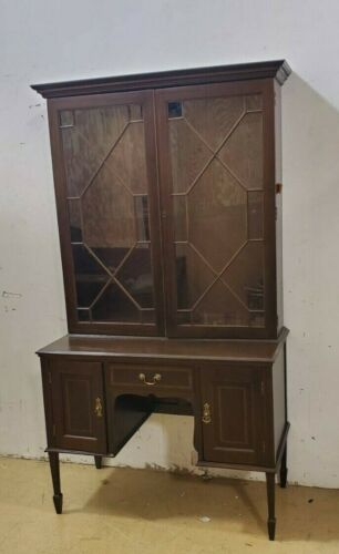 Antique Desk with Glass Cabinet Bookcase