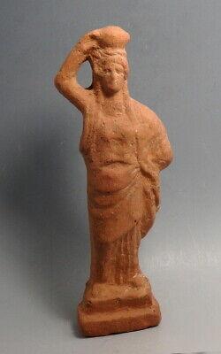 GREEK HOLLOW MOULDED TERRACOTTA STATUETTE HYDROPHORE MAENAD TANAGRA  (N228)