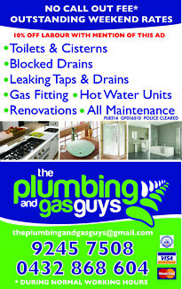 0$ Gets us to your door  Perth Plumber Plumbing Gas Fitting Perth CBD Perth City Preview