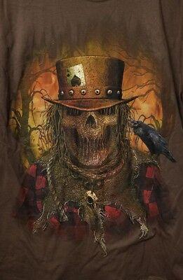 Scarecrow Face Halloween (Halloween Scarecrow Face Horror Men's Brown T-shirt Size Medium)