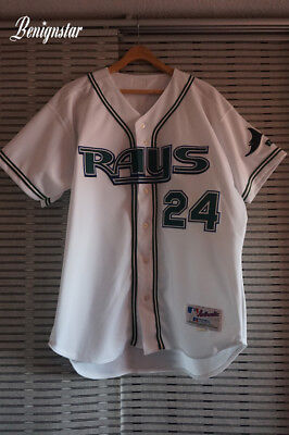 Vintage Game Used George Lombard 2003 Tampa Bay Devil Rays Home Baseball Jersey ()