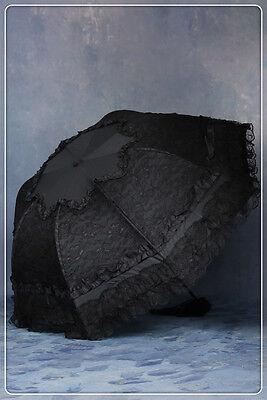 Dark in Love Black Lace Parasol Telescopic Umbrella Gothic Lolita Victorian 003 - Black Lace Umbrella