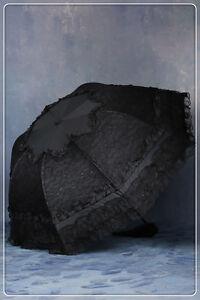 Dark in Love Black Lace Parasol Telescopic Umbrella Gothic Lolita Victorian 003