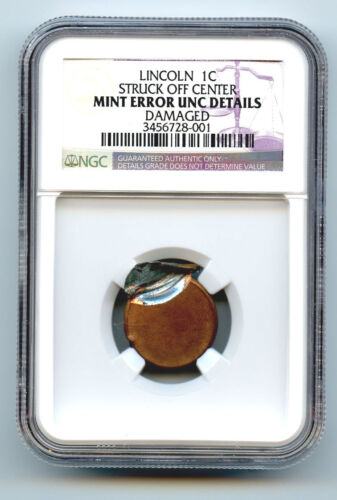 Lincoln Cent (1c) Struck Off Center-ngc Unc Detailed-rare-mint Error  Severely D