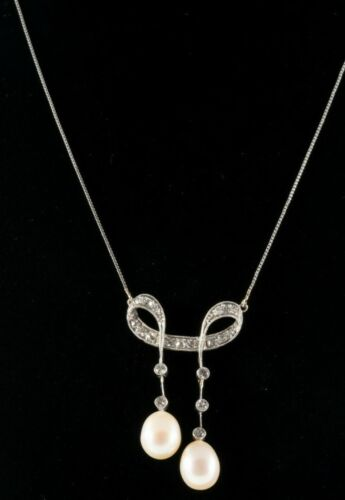 ART NOUVEAU C1920 NATURAL PEARL & DIAMOND NECKLACE 14K WHITE GOLD