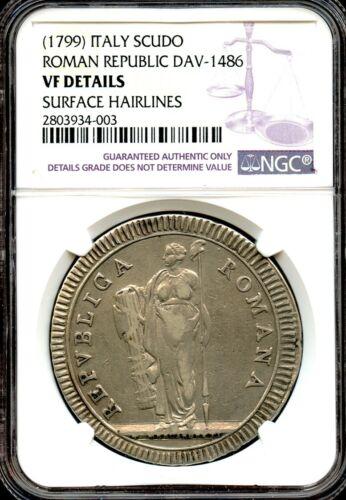 Italy 1799  Silver Scudo  RARE Roman Republic coin !  NGC graded VF
