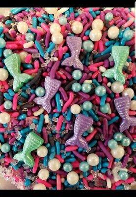 MERMAID Purple pink Blue Mix Sprinkles Sugar Jimmies Cupcake Decoration 4 oz.bag](Purple Sprinkles)