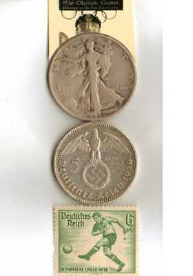 -#-8-)-1936-*Olympic Stamp+*german SILVER EAGLE-5 mark .coin(.900%)+