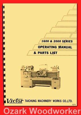 Victor 1630 1640 1660 2040 2060 2080 20100 20120 Metal Lathes Manual 1273