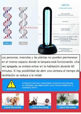 LAMPARA ESTERILIZADORA ULTRAVIOLETA TIPO UV-C + OZONO. GERMICIDA.