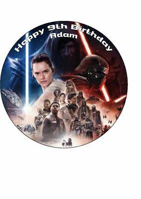 "Star Wars Rise of Skywalker Novelty Edible Birthday Cake Topper 7.5"" Round"