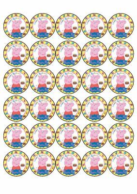 Peppa Pig Cake Toppers (30 x Cup Cake Edible Cake Topper Edible Rice Paper Peppa Pig Birthday)